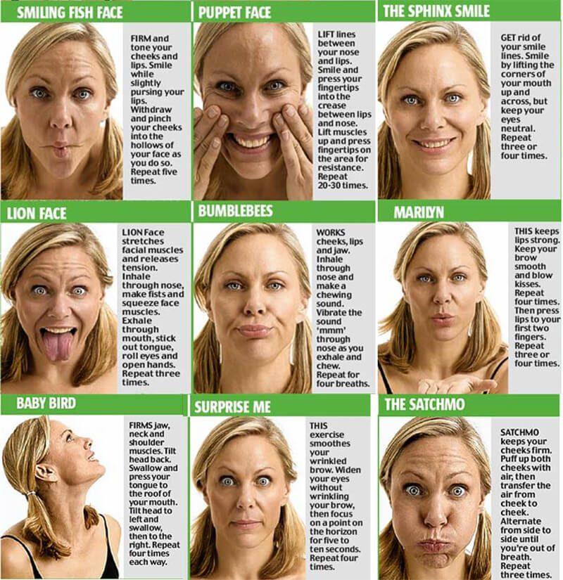 Dưới đây là một vài động tác yoga cho mặt bạn có thể thử