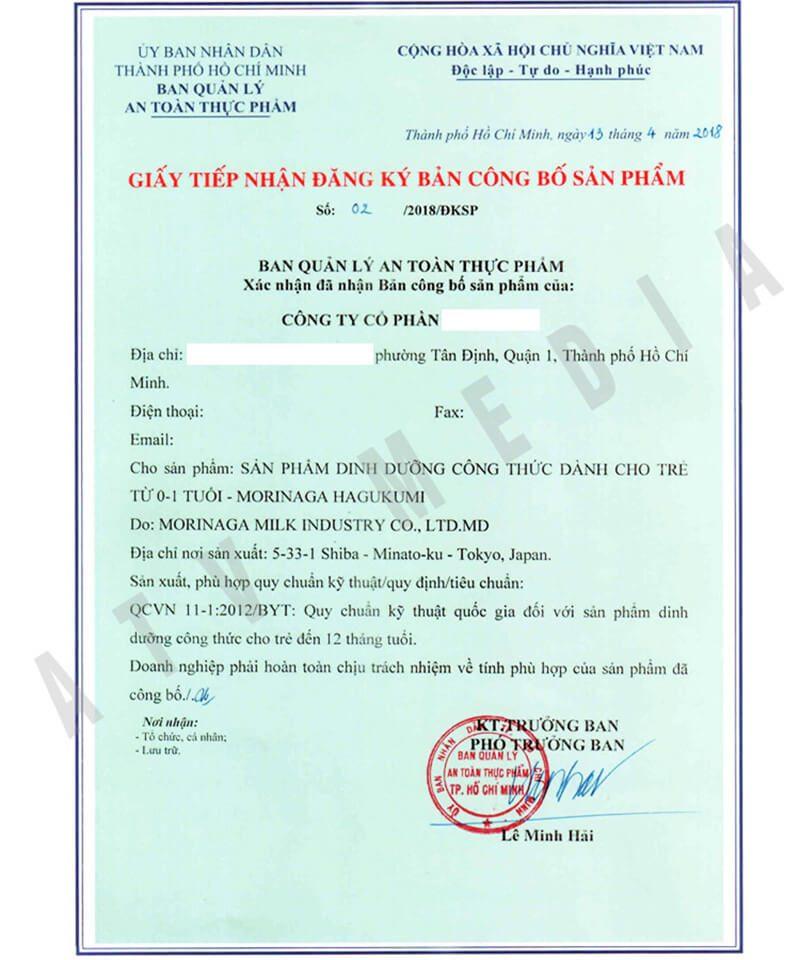 Hướng dẫn hồ sơ xin cấp giấy chứng nhận công bố tiêu chuẩn thực phẩm chức năng