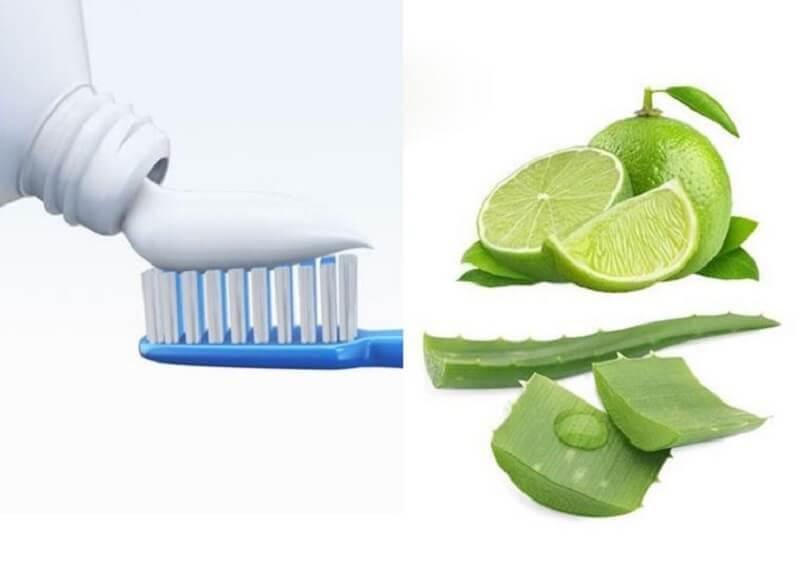Chanh và kem đánh răng trị mụn