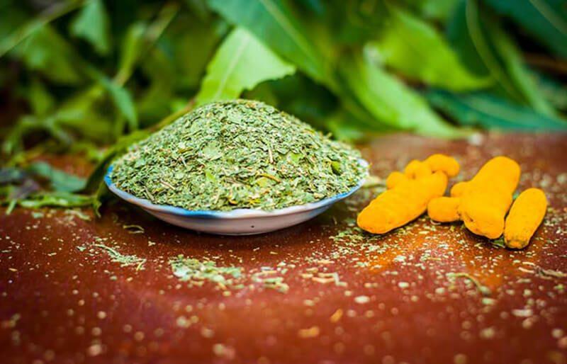 Lá neem và bột nghệ