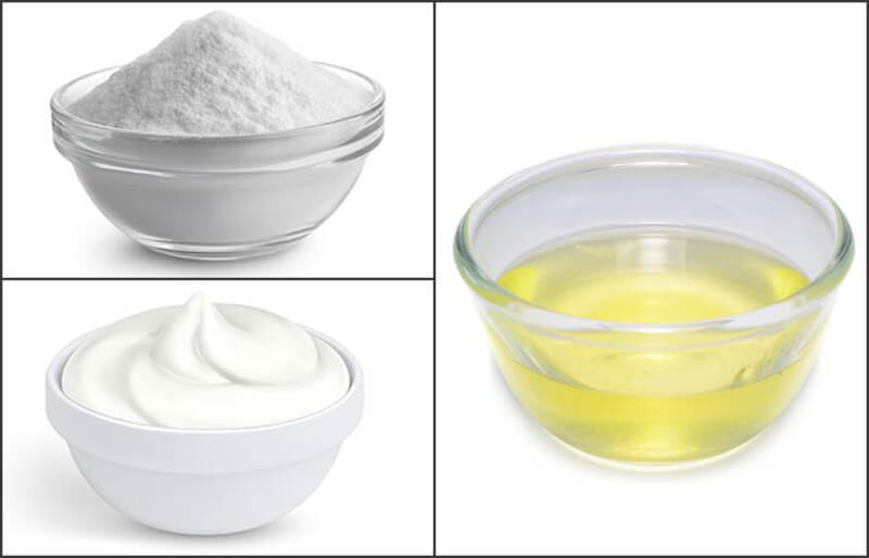Lòng trắng trứng với baking soda và sữa chua