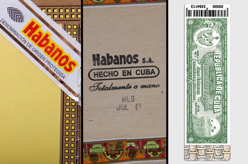 Bao bì xì gà Cuba có nhiều dấu hiệu đảm bảo hàng chính hãng