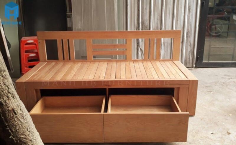 Với mẫu ghế sofa giường này, khách hàng có thể tận dụng để đựng giày dép trong nhà.