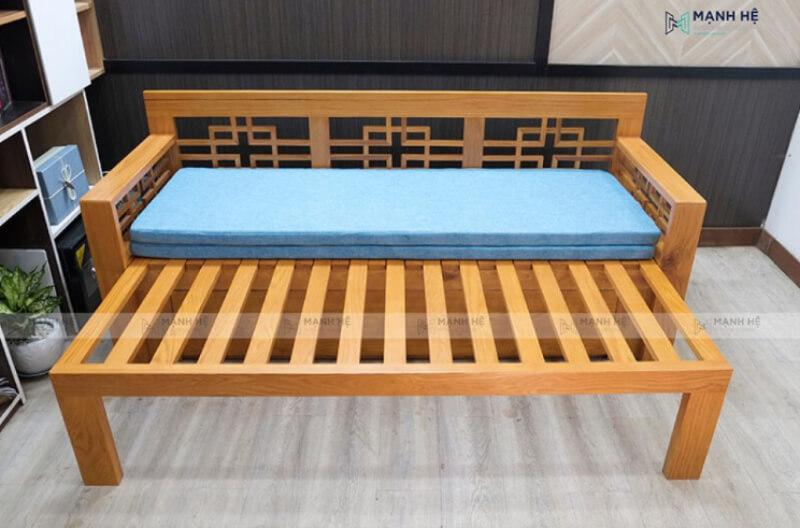 Mẫu ghế sofa giường kéo SE02 màu tự nhiên khi được kéo ra thành giường 1m2 x 2m