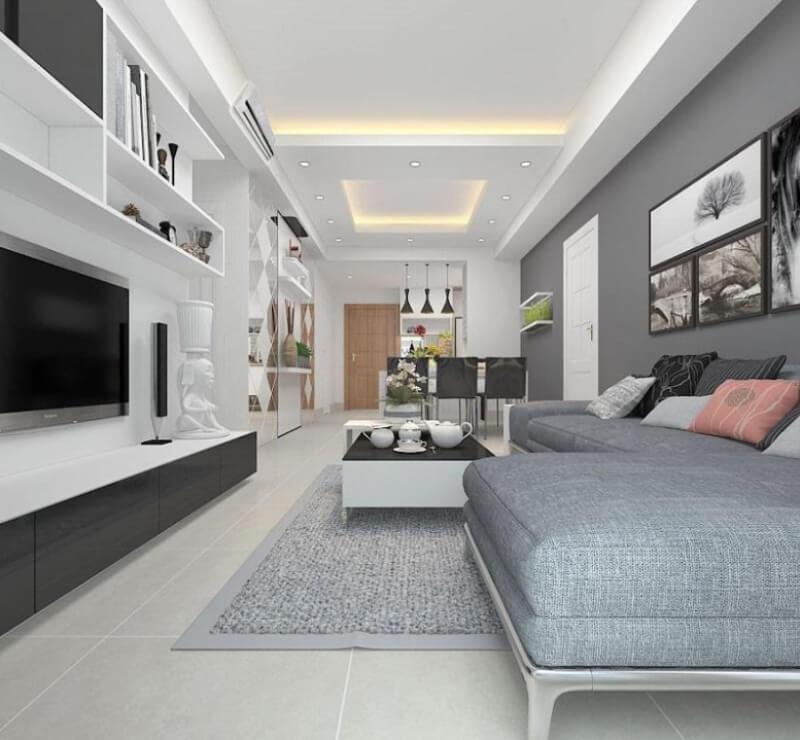 Kết hợp màu trắng xám nhiều cấp độ tạo ra một không gian hiện đại cho phòng khách