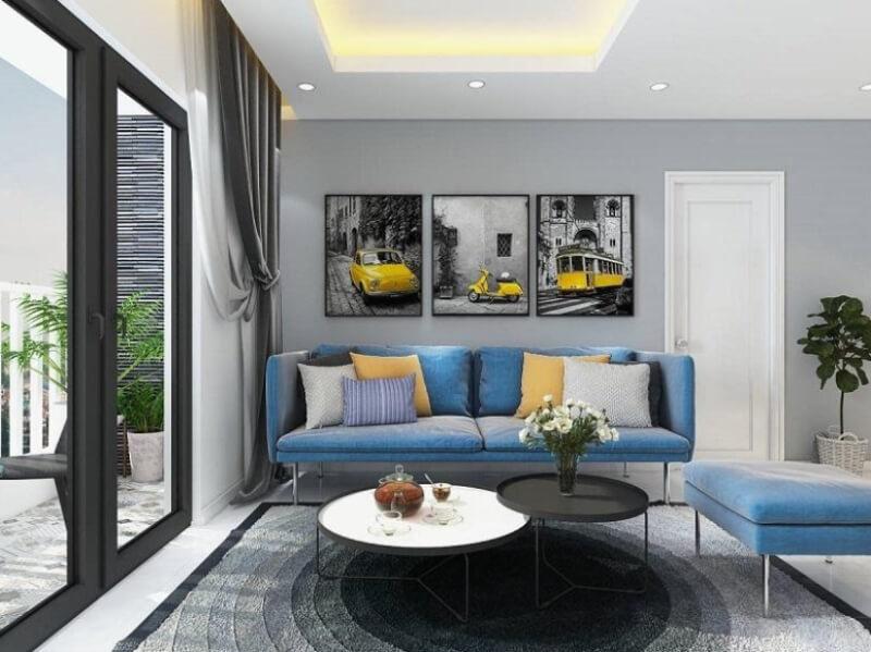 Không gian phòng khách tinh tế với sự kết hợp của nhiều gam màu