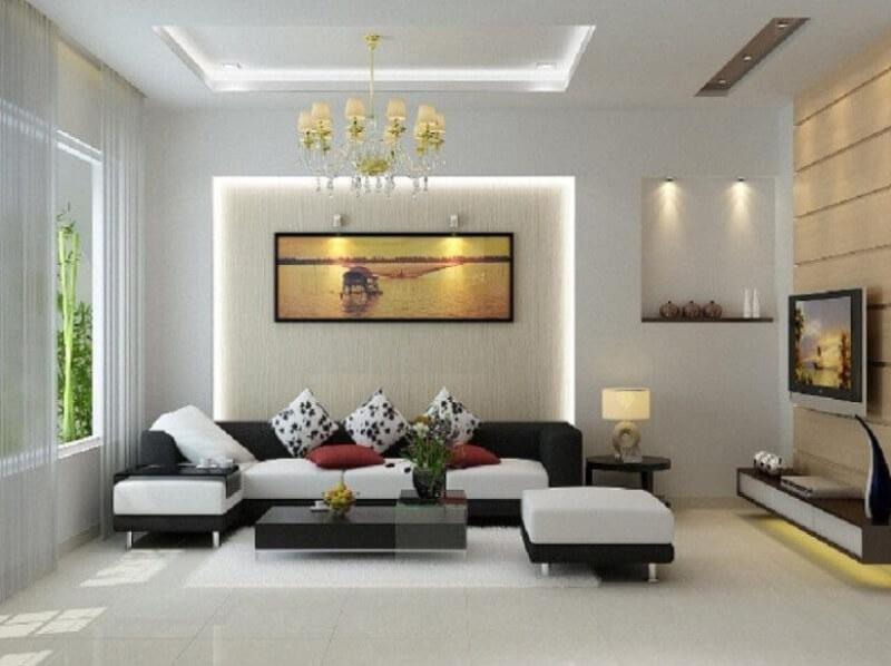 Màu trắng giúp phòng khách nhỏ trở nên rộng rãi và hiện đại