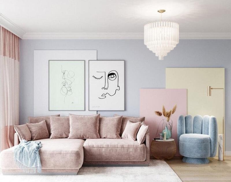 Phòng khách trẻ trung sáng sủa với sự góp mặt của nhiều gam màu pastel