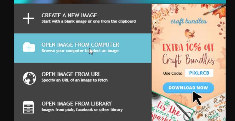 Một cách khác là bấm File, chọn Open image.